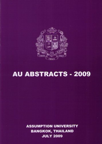 AU Abstracts 2009 - AU Journal - Assumption University of Thailand