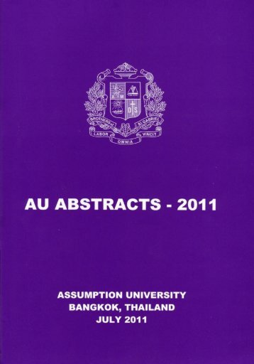AU Abstracts 2011 - AU Journal - Assumption University of Thailand