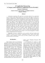 It application outsourcing: a category and evaluation of - AU Journal