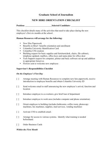New Hire Centralized O Centralized Orientation Checklist PTT