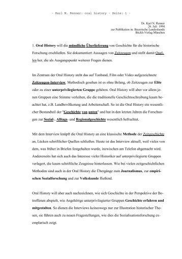1. Oral History will die mündliche Überlieferung von Geschichte für ...