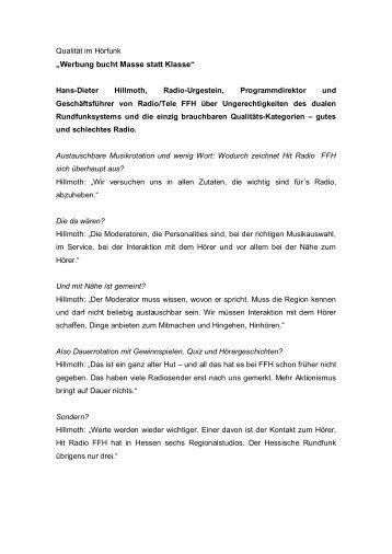 Gespräch mit Hans-Dieter Hillmoth