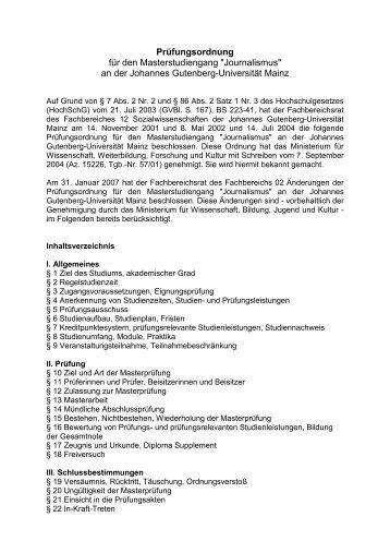 Prüfungsordnung (238 KB) - Journalistisches Seminar - Johannes ...
