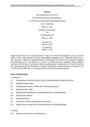 Prüfungsordnung - Johannes Gutenberg-Universität Mainz