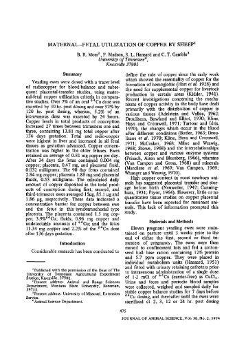 MATERNAL-FETAL UTILIZATION OF COPPER BY SHEEP 1 B. R. ...