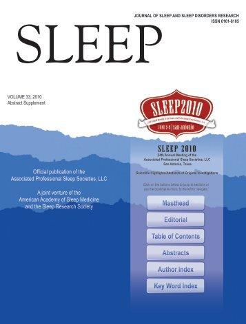 SLEEP 2010 Abstract Supplement