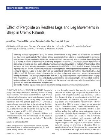 Effect Of Pergolide On Restless Legs And Leg Movements In - Sleep