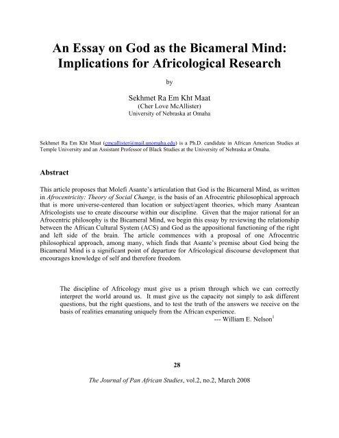 an essay on god as the bicameral mind   journal of pan african  an essay on god as the bicameral mind   journal of pan african