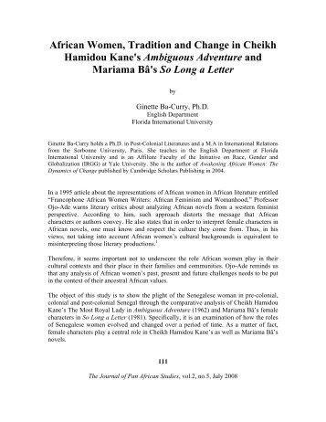 African Women, Tradition and Change in Cheikh Hamidou Kane's ...