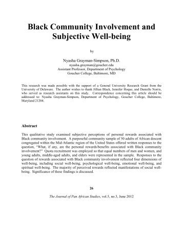Black Community Involvement and Subjective Well-being