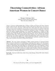 Theorizing Connectivities: African American Women in Concert Dance