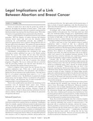 Legal Implications of a Link Between Abortion and Breast Cancer
