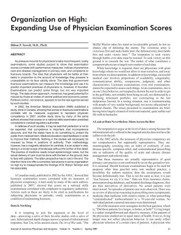 Organization on High: Expanding Use of Physician Examination ...