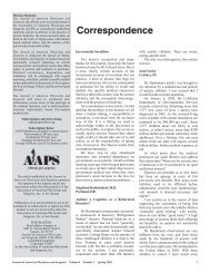 Correspondence - Journal of the American Physicians and Surgeons