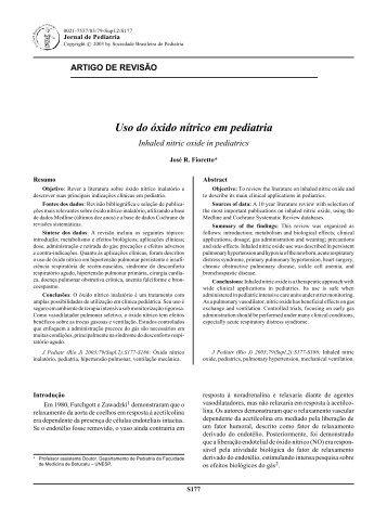 Uso do óxido nítrico em pediatria - Jornal de Pediatria