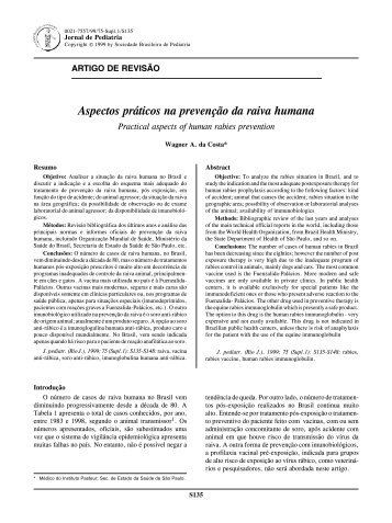Aspectos práticos na prevenção da raiva humana - Jornal de Pediatria