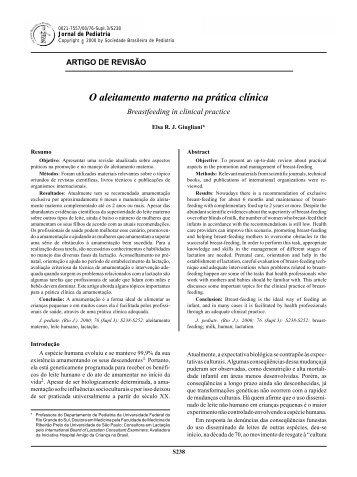 O aleitamento materno na prática clínica - Jornal de Pediatria
