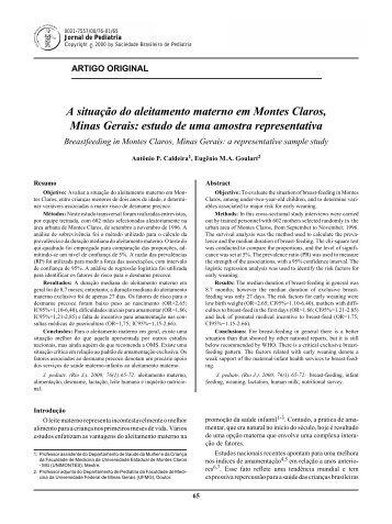 A situação do aleitamento materno em Montes Claros - Jornal de ...