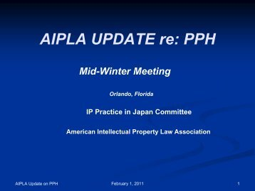 AIPLA UPDATE re: PPH - Japan Patent Office