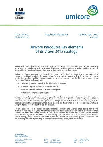 Umicore introduces key elements of its Vision 2015 strategy