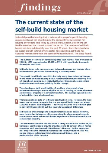 The current state of the self-build housing market - Joseph Rowntree ...