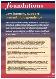 Low intensity support - Joseph Rowntree Foundation