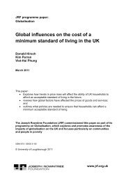 Global influences on the cost of a minimum standard of living in the UK