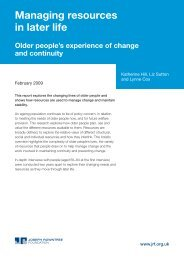Managing resources in later life - Joseph Rowntree Foundation