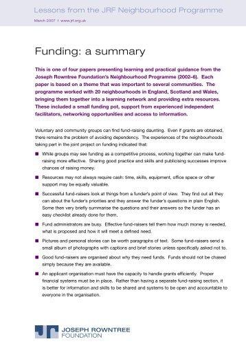 Changing neighbourhoods - funding - Joseph Rowntree Foundation