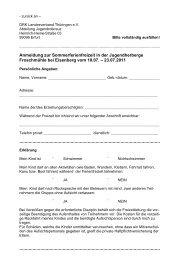 Anmeldung zur Sommerferienfreizeit in der Jugendherberge ...