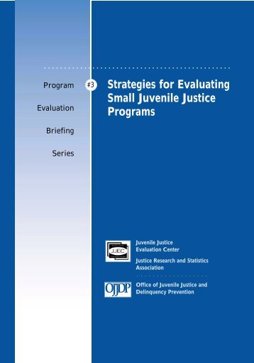 Strategies for Evaluating Small Juvenile Justice Programs