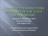 Community Corrections Outcomes in the State of Colorado