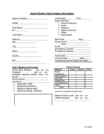Sample intake form from the womens center and shelter of greater adult shelter client intake form altavistaventures Choice Image