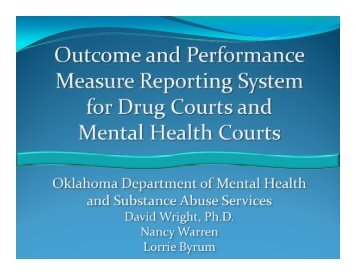 Outcome and Performance Measure Reporting System for Drug ...