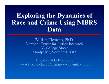 Exploring the Dynamics of Race and Crime Using NIBRS Data