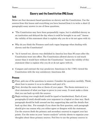 slavery and sectional attitudes dbq essay The american civil war was inevitable - the civil war was inevitable in many reasons the economic and industrial evolution was mainly in the north side of the united states while the south was just a cotton kingdom, slave empire also both were completely opposites of one another when it was about freeing the slaves.