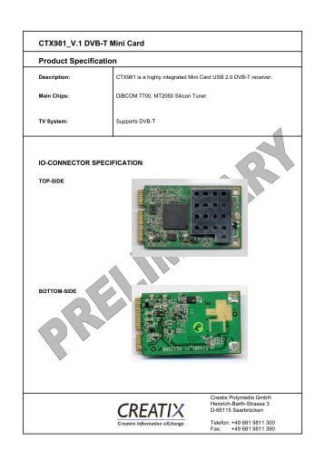CTX981 V.1 DVB-T Mini Card Product Specification - CREATIX