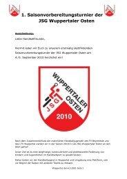 1. Saisonvorbereitungsturnier der JSG Wuppertaler Osten