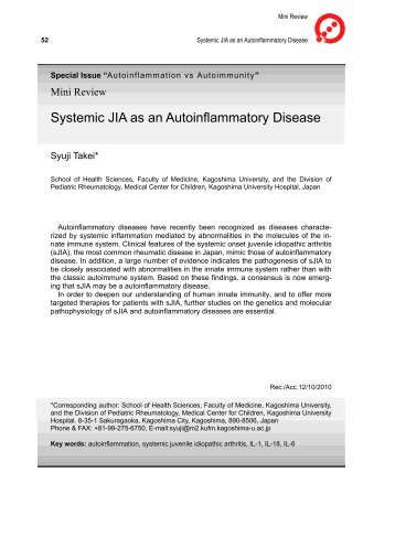 Systemic JIA as an Autoinflammatory Disease