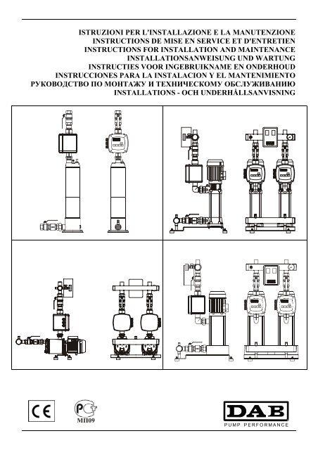 Istruzioni Per L Installazione E La Manutenzione Dab Pumps