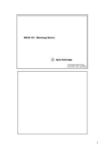 MEAS 101: Metrology Basics