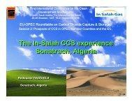 The In-Salah CCS experience Sonatrach, Algeria The In-Salah CCS ...