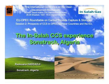 The In-Salah CCS experience Sonatrach, Algeria The In-Salah CCS ...