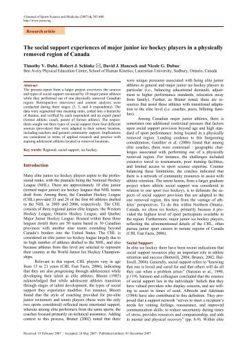 The social support experiences of major junior ice hockey players in ...