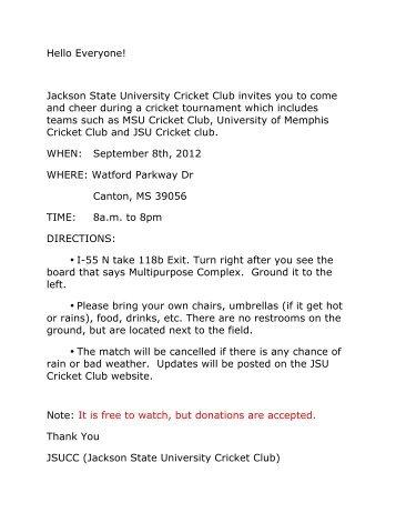Hello Everyone! Jackson State University Cricket Club invites you to ...