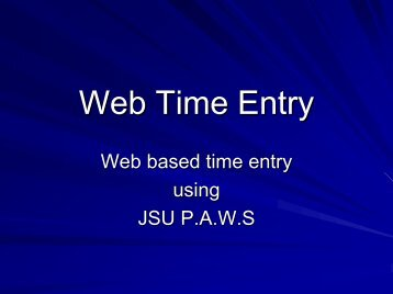 Banner Web Time Entry