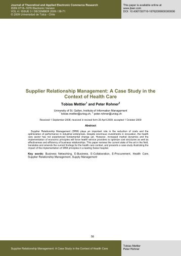 Supplier Relationship Management: A Case Study in the ... - SciELO