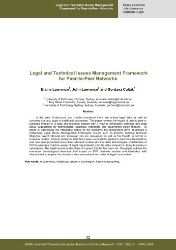 Legal and Technical Issues Management Framework for Peer-to ...