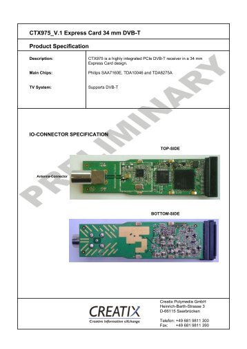 CTX975 V.1 Express Card 34 mm DVB-T Product ... - creatix