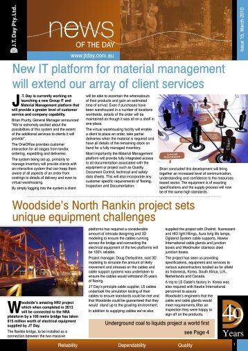 New IT platform for material management will ... - JT Day Pty Ltd
